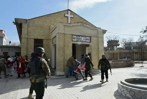 Bild vom Eingang der Bethel Memorial Methodist Church in Quetta, Pakistan.