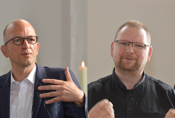 Die Referenten: Professor Dr. Thorsten Bonacker (links) und Pastor Mitja Fritsch.